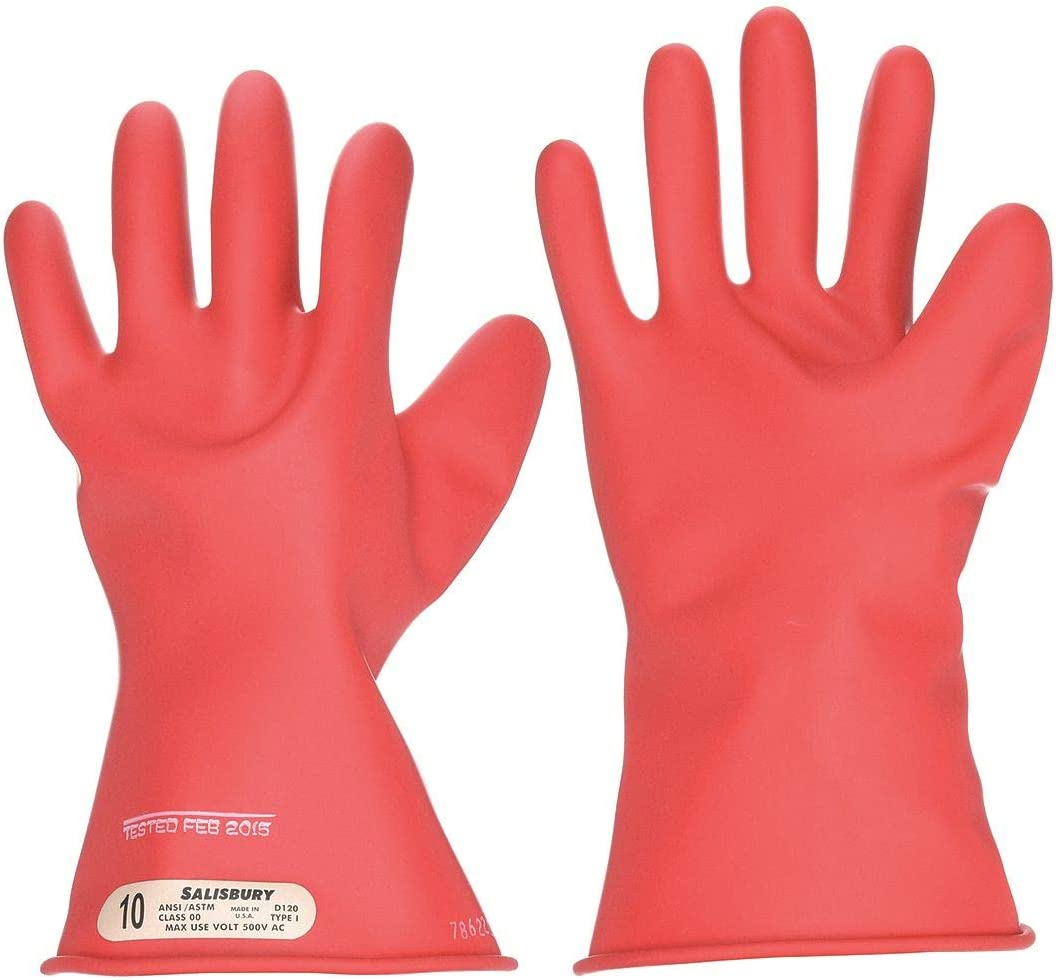 Salisbury Red Electrical Gloves, Natural Rubber, 00 Class, Size 10-1/2 10-1/2 E0011R/10H - 1 Each 61JM8OECyELSL1125_