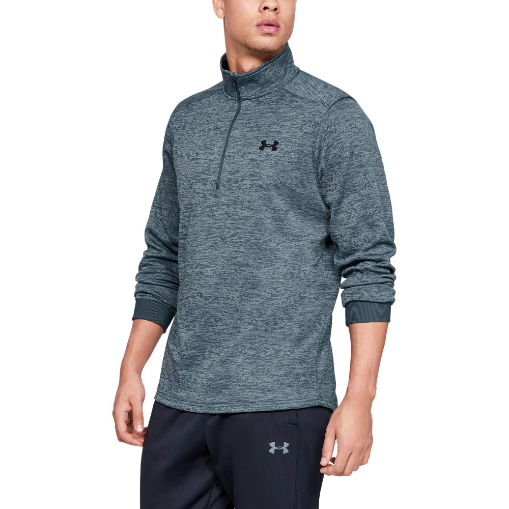 Under Armour Men's Armour Fleece 1/2 Zip, Wire (073)/Black, Small by Under Armour
