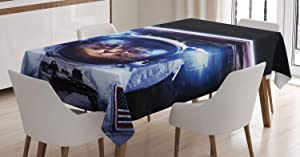 "Ambesonne Cat Tablecloth, Funny Astronaut Cat Above Earth in Outer Space Explorer Kitty Mission Humor Art Image, Dining Room Kitchen Rectangular Table Cover, 52"" X 70"", Blue White"