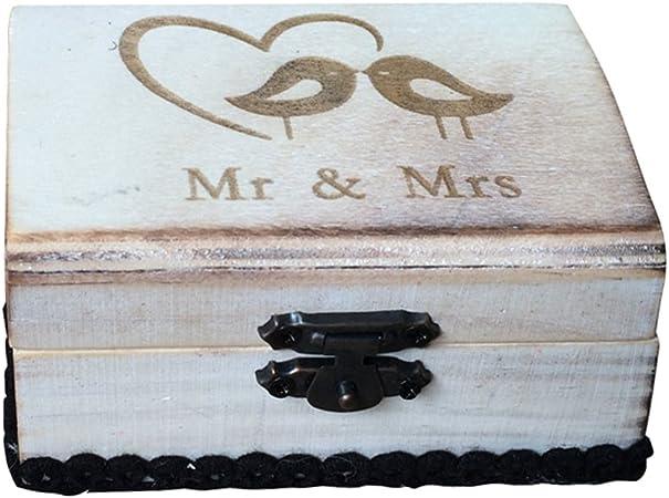Caja de Madera de Anillos de Novios Sostenedor de Anillo de Ceremonia de Boda Caja de Joyería con Musgos Secados Removibles - Mr y Mrs con pájaros: Amazon.es: Hogar