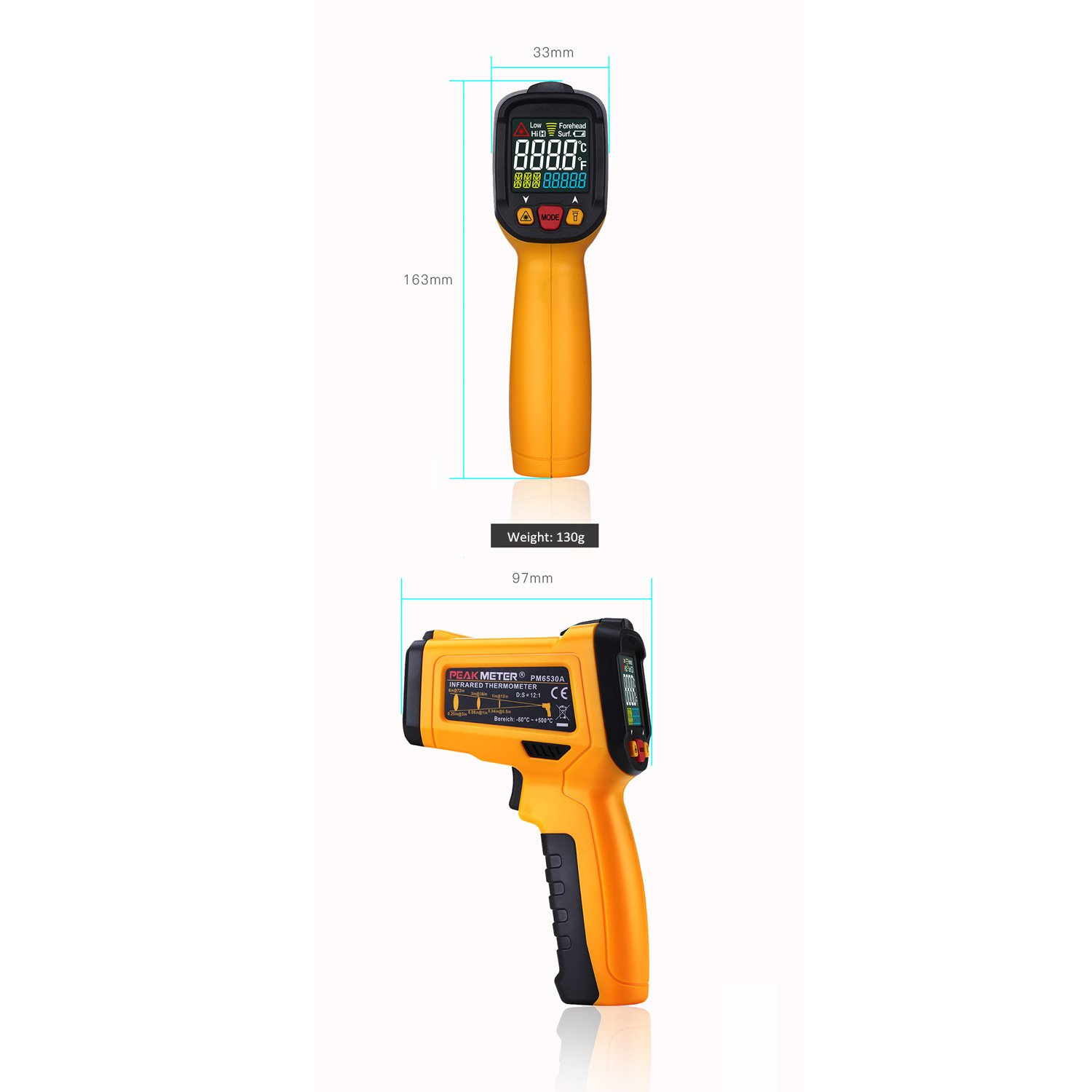 Digital Infrared thermometer Peakmeter PM6530A Laser IR Temperature Gun LCD for Kitchen Cooking Automotive with Temperature Bridge Alarm Function Display -58°F~572°F(-50°C~300°C) by uvcetech (Image #6)