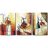 Raybre Art® 100% Pintada a Mano sobre Lienzo Nuevo Cuadros Modernos Arte Pared Pinturas al óleo Grandes Abstractos Bailarina Danza Para Decoración Hogar Sala Cocina, con Bastidor de madera ( 3 pcs/set Bailarinas)