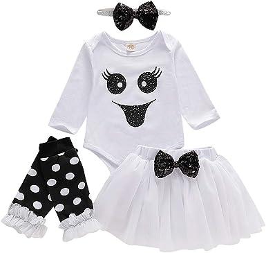 BBSMLIN Ropa Halloween Disfraz Niña Bebe Monos Tops + Falda Corta ...