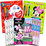 Disney Minnie Mouse Valentine Coloring Books and Cards Super Set -- 2 Valentines Books for Kids and 32 Minnie Mouse Valentine Cards (School Classroom Pack)