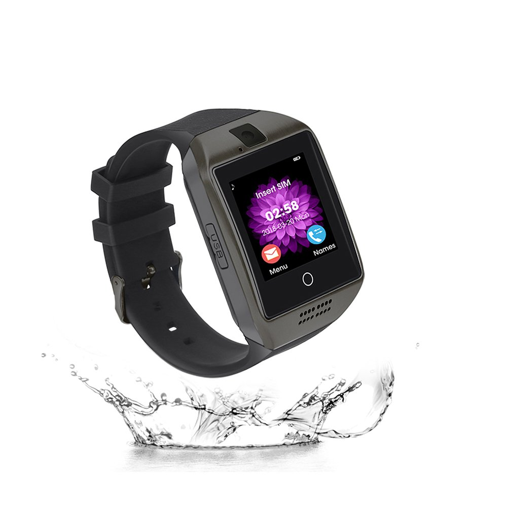 Elec.BGS Bluetooth Smart Watch Touch Screen Smartwatch con fotocamera Carta SIM Impermeabile Sport Fitness Tracker Polso intelligente per Android iPhone Samsung Huawei Sony (black) product image