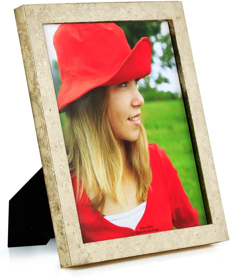 RPJC 8x10 Picture Frames Made of Solid Wood High Definition Glass for Table Top Display and Wall Mounting Photo Frame Gold