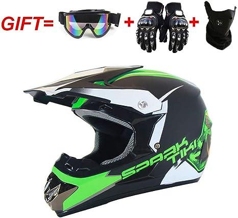 Gr/ün, L YXCXY Casque Crash Motocross Adulte pour Hommes Femmes Gant Lunettes Masque Moto Off-Road VTT VTT Downhill Dirt Bikes Casque de Moto Cross pour Moto avec Cadeau