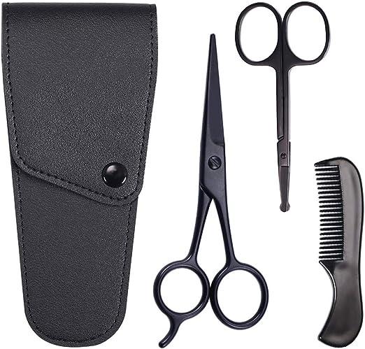 Asudaro - Set de cuidado de barba, tijeras, bigote de barba, tijeras de nariz y peine para hombres, 3 piezas, incluye estuche, juego de cuidado para tijeras de barba: Amazon.es: Deportes y