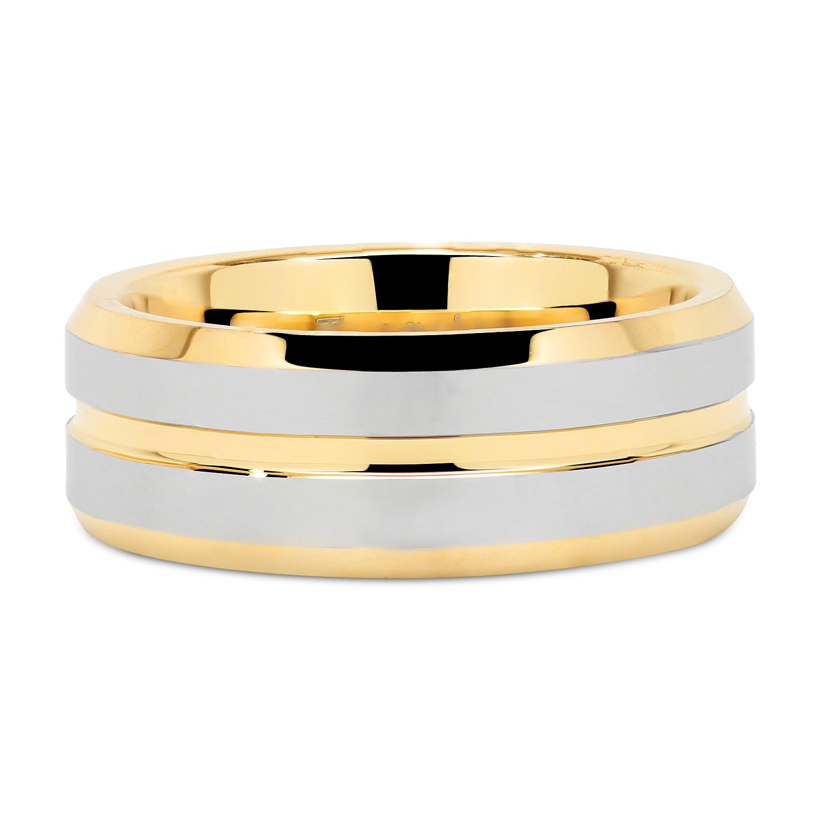 Tungsten Rings for Mens Wedding Bands Gold Silver Two Tone Grooved Center Line Size 8-15 (13) by 100S JEWELRY (Image #4)