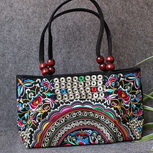 Embroidery Handbag, Vintage Chinese Ethnic Embroidered Totes Bag, Colorful Art Flower Evening Purses and Handbags for Women Girl Teen