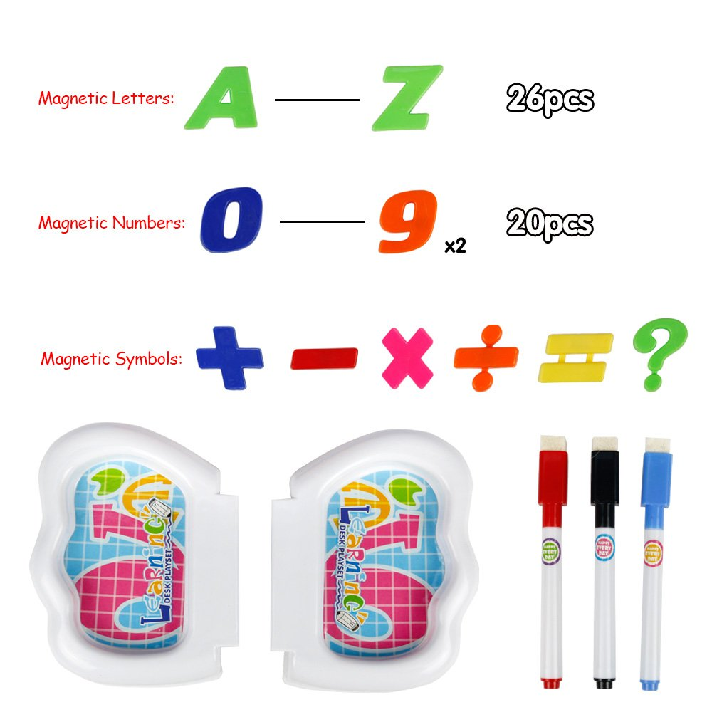 Jun Feng Long Magnetic White Board with Storage Box Chair Drawing Games Magnetic Letters, Numbers 3 in 1 Portable Chair