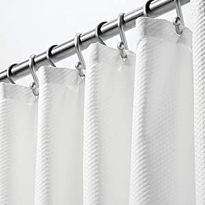 mDesign Soft 100% Microfiber Polyester Fabric Shower Curtain - Decorative Embossed Pattern Texture - for Bathroom Showers and Bathtubs - Easy Care, Machine Washable - 72