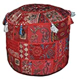 22'' Vintage Patchwork Pouf Cover Living Room Pouf Decorative Ottoman Embroidered