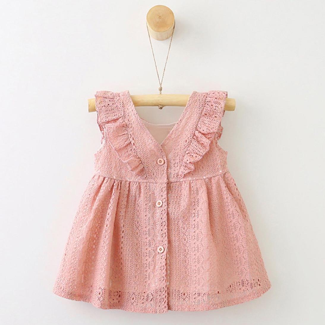 💜 Vestido Corto Niñas, Niños infantil Niño Niñas Encaje Volantes Vestido de Princesa Button Hollow Absolute: Amazon.es: Ropa y accesorios