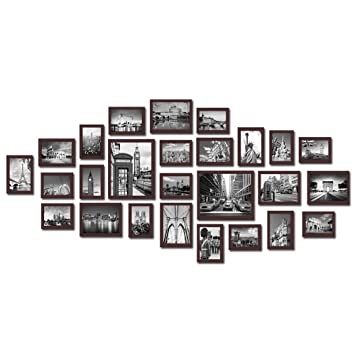 large multi picture photo frames wall set 26 pieces set brown