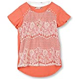 Speechless Big Girls' 7-16 Lace Front T-Shirt, Coral Ivory, M