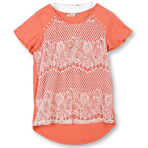 Speechless Big Girls' 7-16 Lace Front T-Shirt, Coral Ivory, M by Speechless