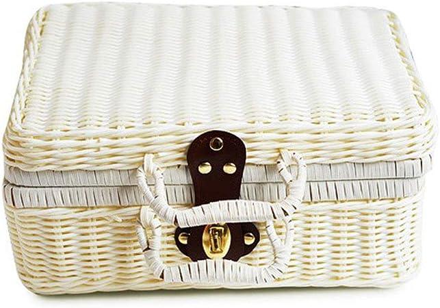 Caja de almacenamiento de joyas, cesta de almacenamiento de mimbre organizador de maquillaje multiusos contenedor con tapa blanco: Amazon.es: Hogar