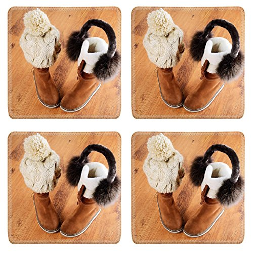 Luxlady Square Coasters Non-Slip Natural Rubber Desk Coasters IMAGE ID: 34389622 winter boots hat and fur headphones on the floor horizontal format
