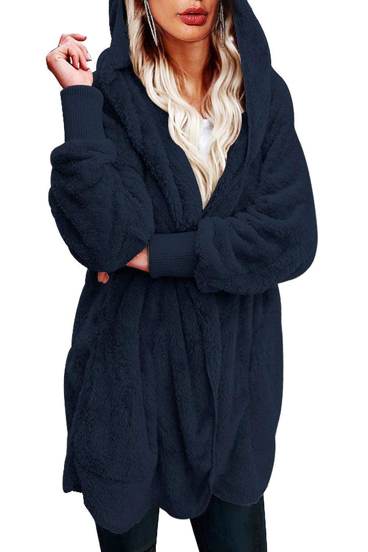 Yanekop Womens Winter Open Front Loose Hooded Fleece Sherpa Jacket Cardigan  Coat at Amazon Women s Clothing store  f254ebeab