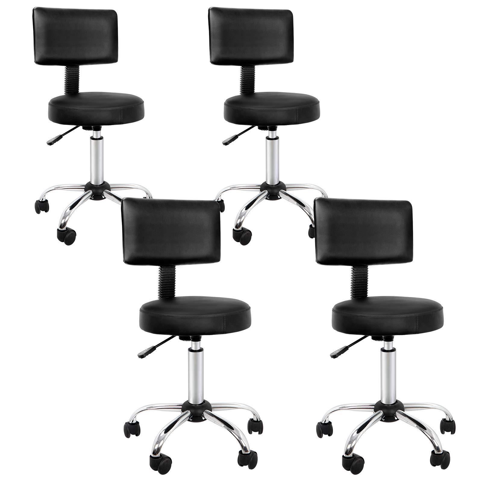 Nova Microdermabrasion Adjustable Hydraulic Rolling Swivel Salon Stool Chair Tattoo Massage Facial Spa Stool Chair with Back (PU Leather Cushion) (Black 4pcs)