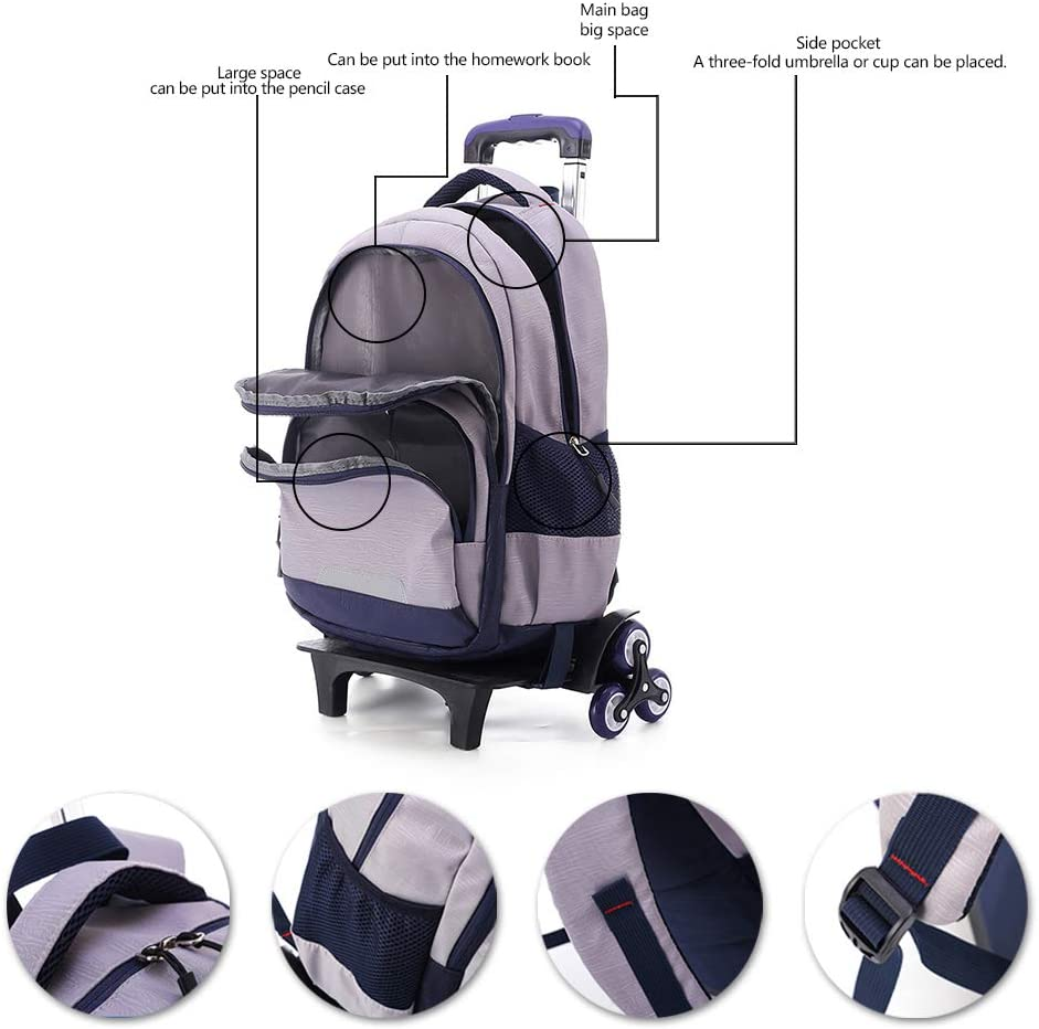 Silver Grey 31x15x47cm XFentech Kids Laptop Backpack Trolley Travel Bag