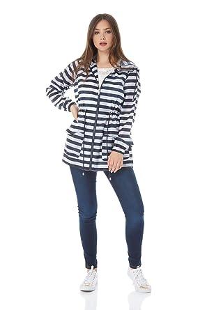 Roman Originals Women Stripe Rain Mac Coat with Hood - Ladies Lightweight  Outdoors Jacket Printed Festival 8402e282a