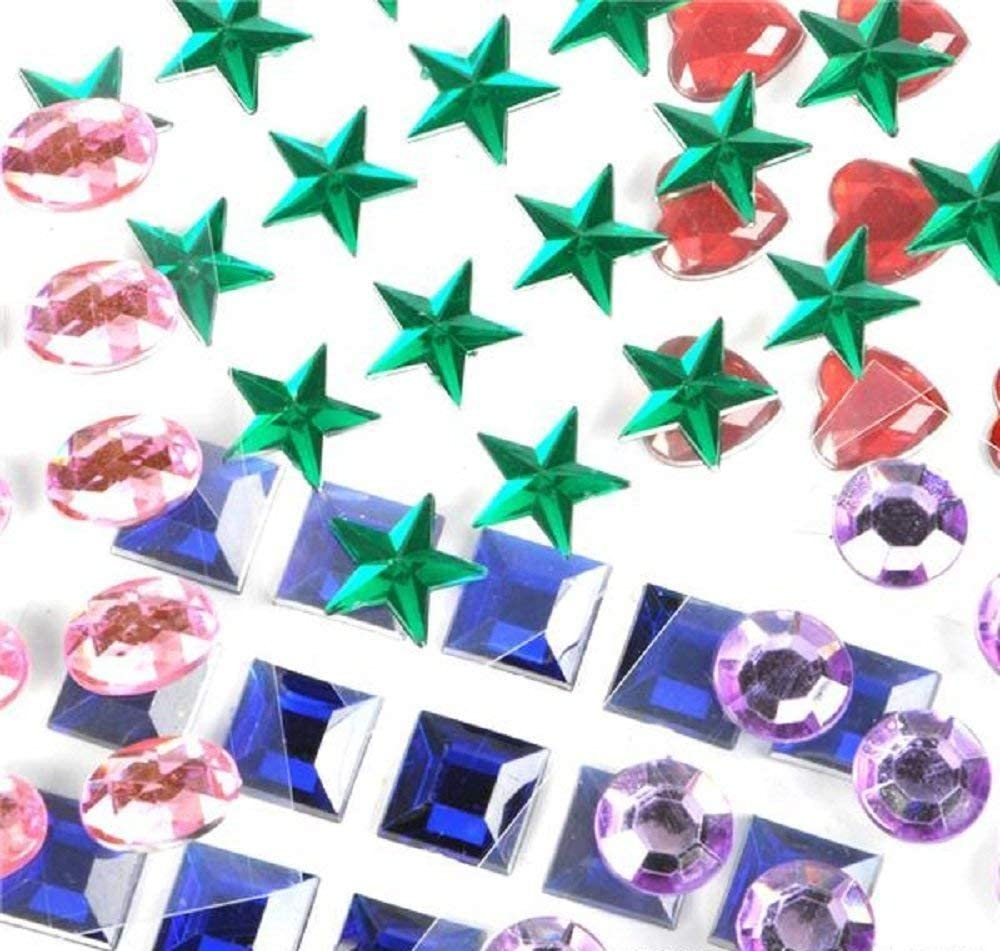 Super Z Outlet Mini Self-Adhesive Back Jewels Multi-Color Assorted Gems Rhinestone, Hearts, Diamonds, Stars Stickers for Arts & Crafts Projects, Decorations, Invitations (500 Assorted Pieces)