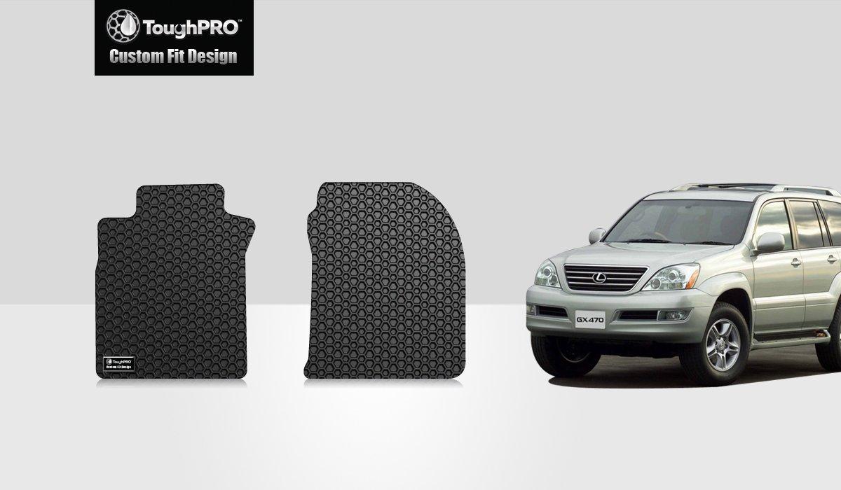 2003-2009 All Weather ToughPRO Lexus GX470 Floor Mats Set Heavy Duty -Black Rubber - AUTO MATS ZONE INC