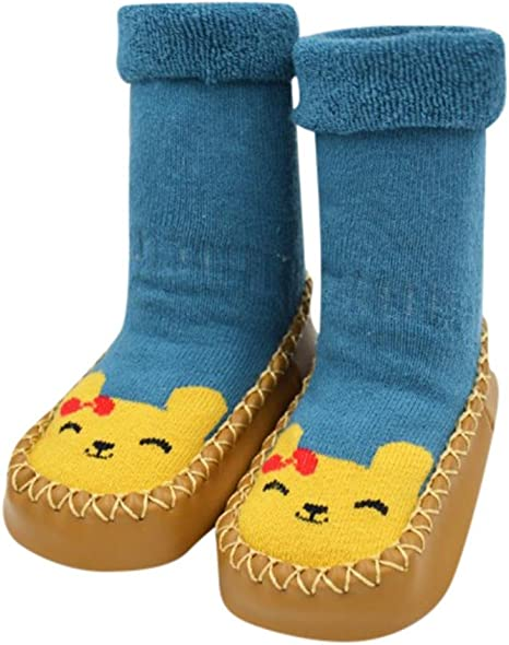 13cm /& Khaki Kids Toddlers Newborns Anti-Slip Socks Rubber Sole Socks Boots Cartoon Slipper Socks for 12-18 Months Baby