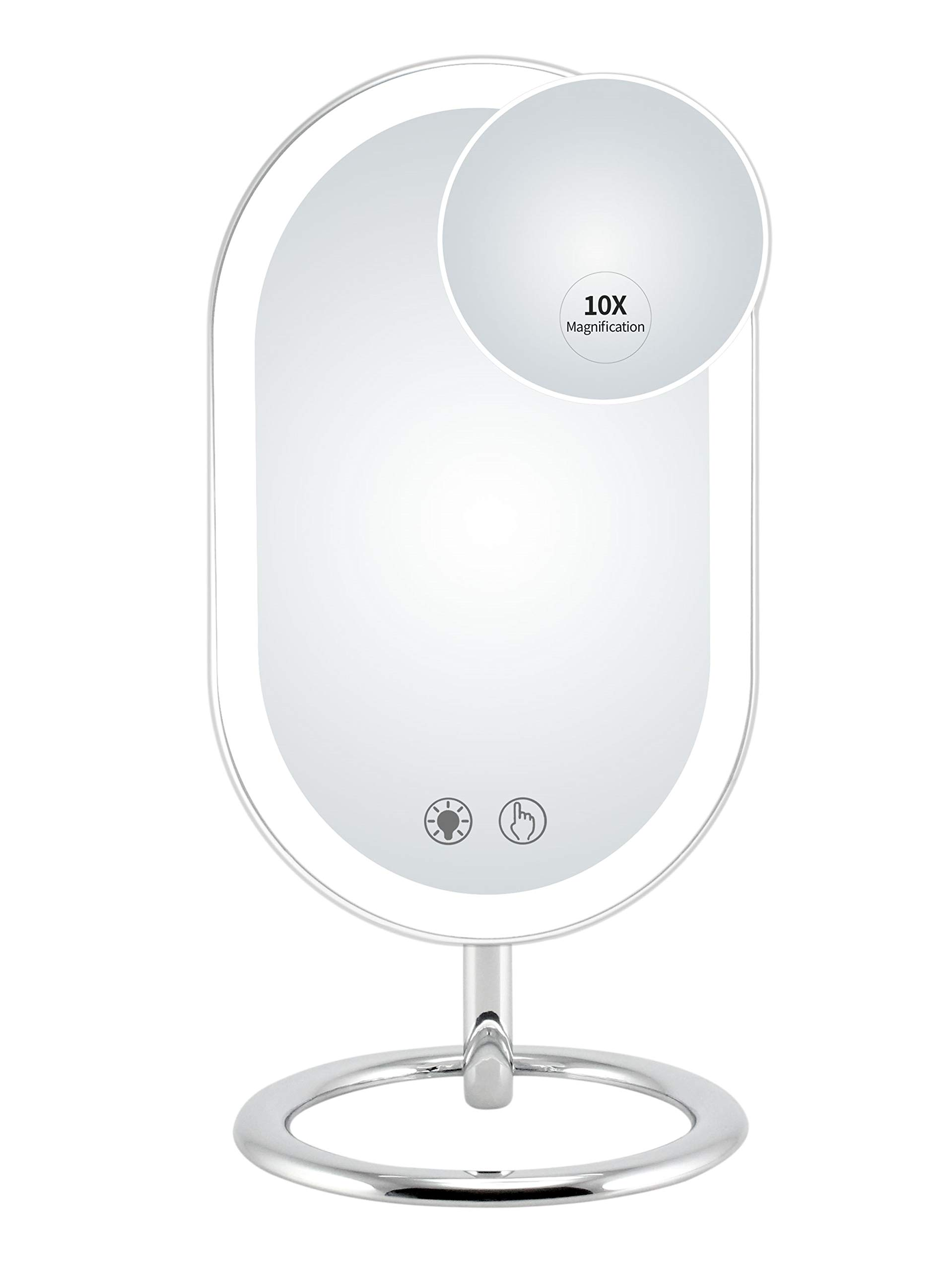 Fugetek Trifold Lighted Vanity Makeup Mirror, 32 Bright LED's, 1X, 5X, 7X Magnified, USB Or Battery Powered, Touch Screen, Adjustable Brightness, Travel Ready, White