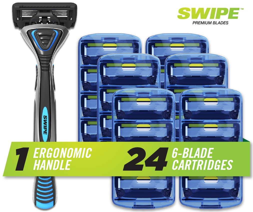 SWIPE Premium Men's 6-Blade Razor Kit (Flex Head Handle + 24 Refills)