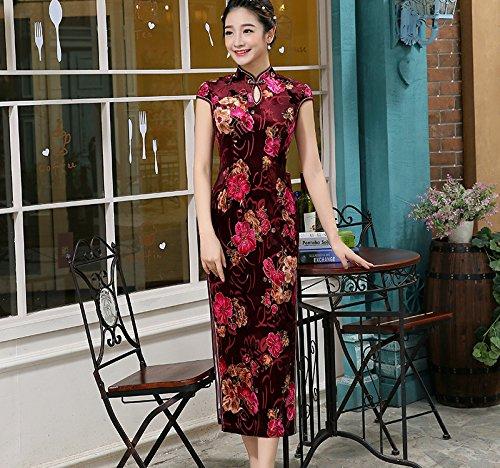 Collo YueLian Corte Maniche con Goccia Cheongsam Marrone Velluto a Vestito a Lungo r7qfx46n78