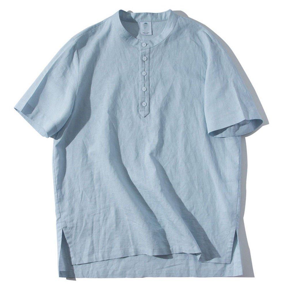 SHENHAI Herren Kurzarm T-Shirt Lose Einfarbig