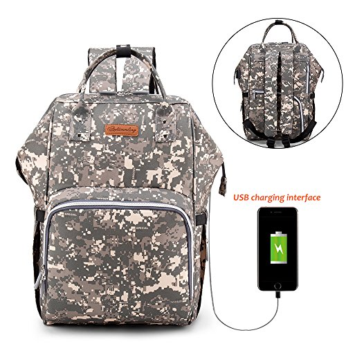 234c3b642b63 JIAN YA NA [UPGRADED VERSION] Diaper Tote Bag Large Capacity Baby Changing  Backpack with USB Port Waterproof Oxford Fabric Casual Baby Care Nappy Bag  ...