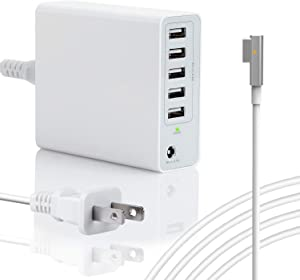 85W Charger for MacBook Pro 15 17 inch Made Before Mid 2012, Replacement for Magsafe 1 L-Tip Power Adapter w/ 5USB Ports