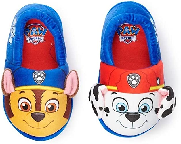 11//12 Paw Patrol Toddler Boy Slippers House Shoes Marshall Chase Size XL New