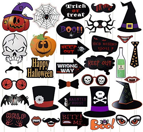 College Party Pics (2019 New Halloween Photo Booth Props, 35 Pcs Photo Props for Halloween Party Decorations Pose Signs with Pumpkin Skull Witch Hats)