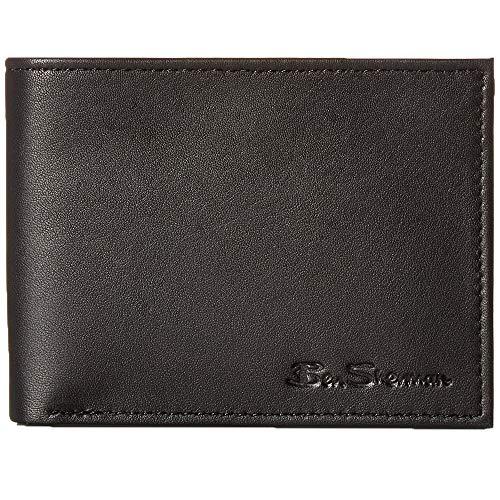 - Ben Sherman Kensington Sheepskin Leather 5 Pocket Billfold Wallet in Black