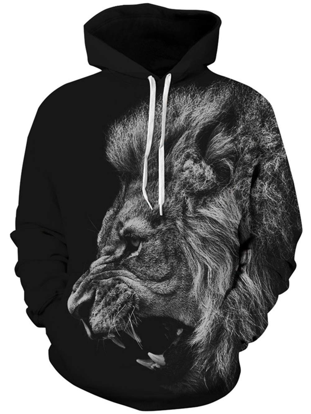 TUONROAD Unisex Digital Print Animal Face Hooded Pullover Solid Black Grey Hairy Roaring Lion Sweater with Sharp Teeth 3D Cool Carton Hoodies Plus Size Athletic Tops Sweatshirt with Kangaroo Pockets