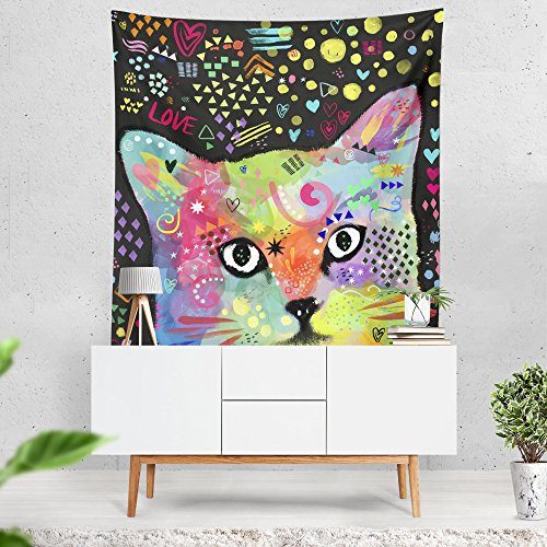 Lume.ly - Colorful Cute Kitten Kitty Cat Art Large Wall Hanging Tapestry for Bedroom or Beach, Unique Luxury Designer Bright Art Home Decorative (60x80 inches) by Lume.ly