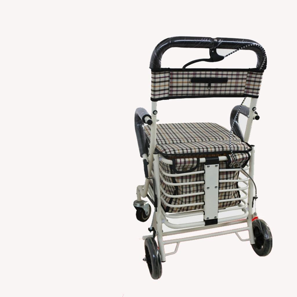 Metal plegable Elderly Home carrito supermercado carrito de la compra Rollator Walker Con Asiento Acolchado: Amazon.es: Hogar