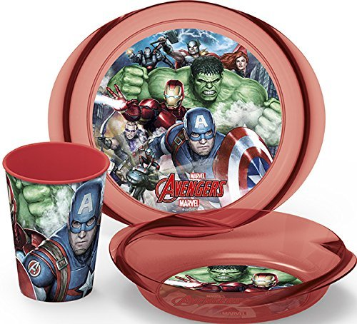 Boyz Toys Marvel Avengers Kids 3 Piece Dinner Breakfast Set Cup Bowl Plate Tableware Boys Toys 87780