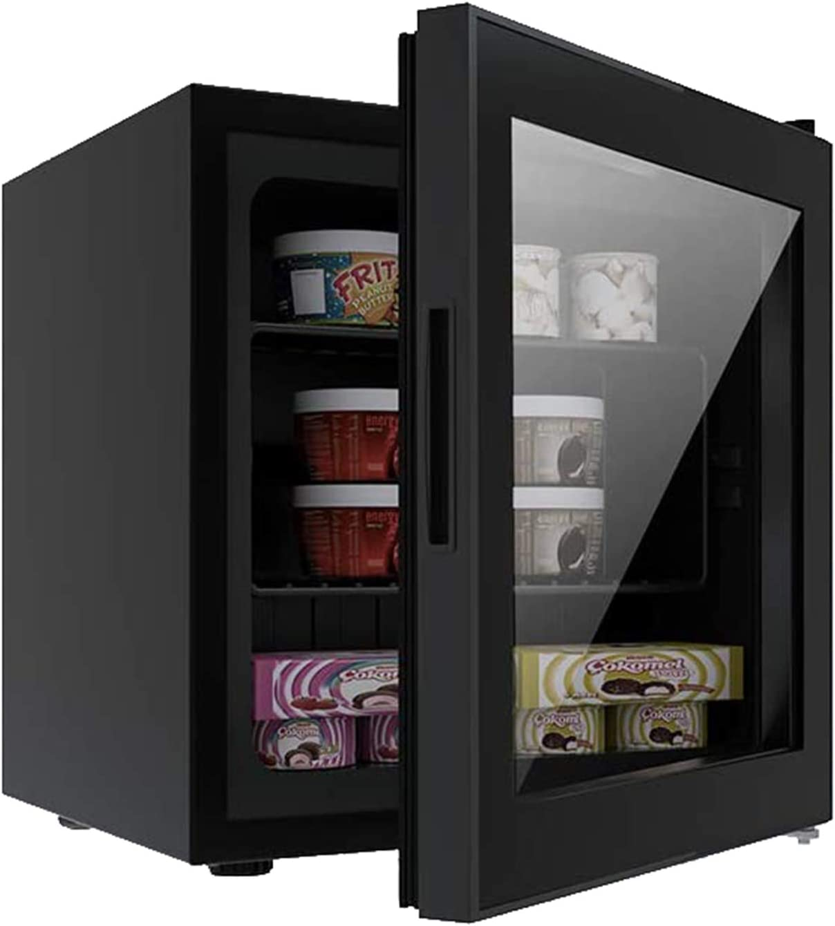Ice Cream Breast Milk//Sea Food//High-alcohol Liquor for Home 1.1 cu.ft Black Office Bar Antarctic Star Upright Freezer Mini Fridge Compact Small Chest Reversible Three-layers Clear Front Glass Door