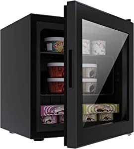 Antarctic Star Upright Freezer Mini Fridge Compact Small Chest Reversible Three-layers Clear Front Glass Door, Ice Cream Breast Milk/Sea Food/High-alcohol Liquor for Home, Office Bar, 1.1 cu.ft Black