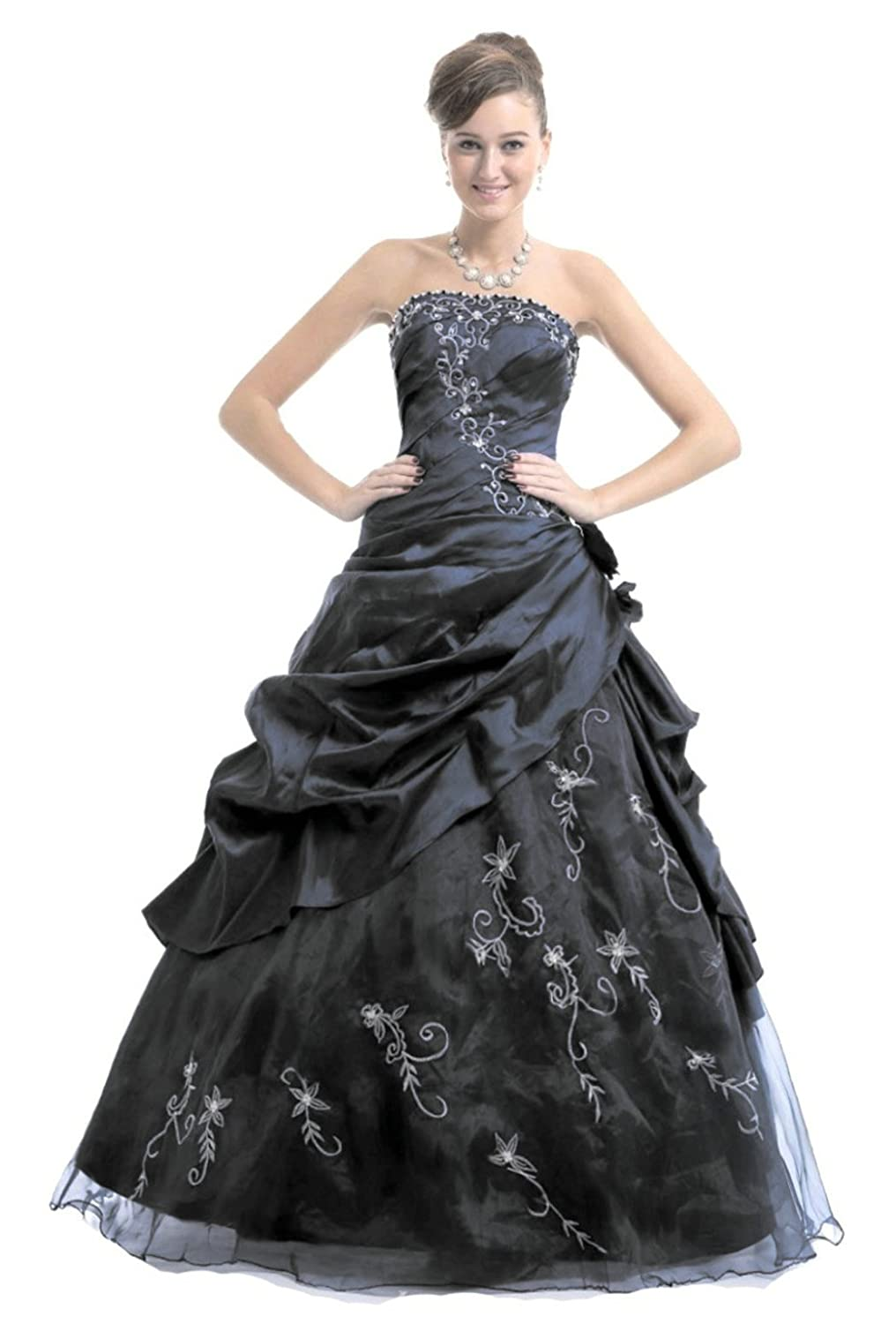 e61bb33903409 Amazon.com  RohmBridal Women s Strapless Embroidery Princess Evening Ball  Gown  Clothing