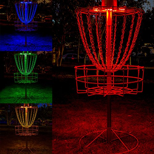 YiePhiot Disc Golf Basket Lights, Water Proof Multi Color LED Lights with Remote Control Color Changing Modes, and Velcro to Attach, Basket Not Included (2 Led Lights) -