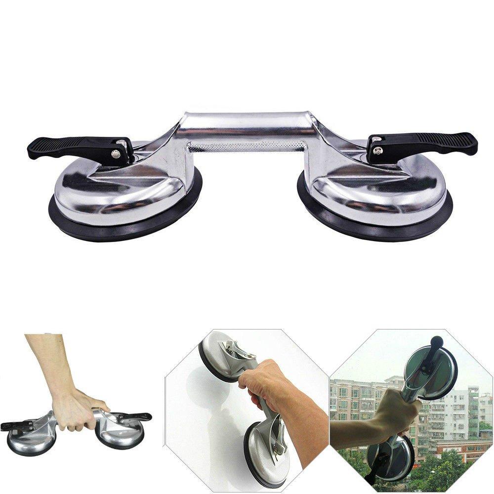 Enshey Vacuum Sucker-Double Suction Cup Aluminum Alloy Glass Tile Floor Car Dent Lifter Grip