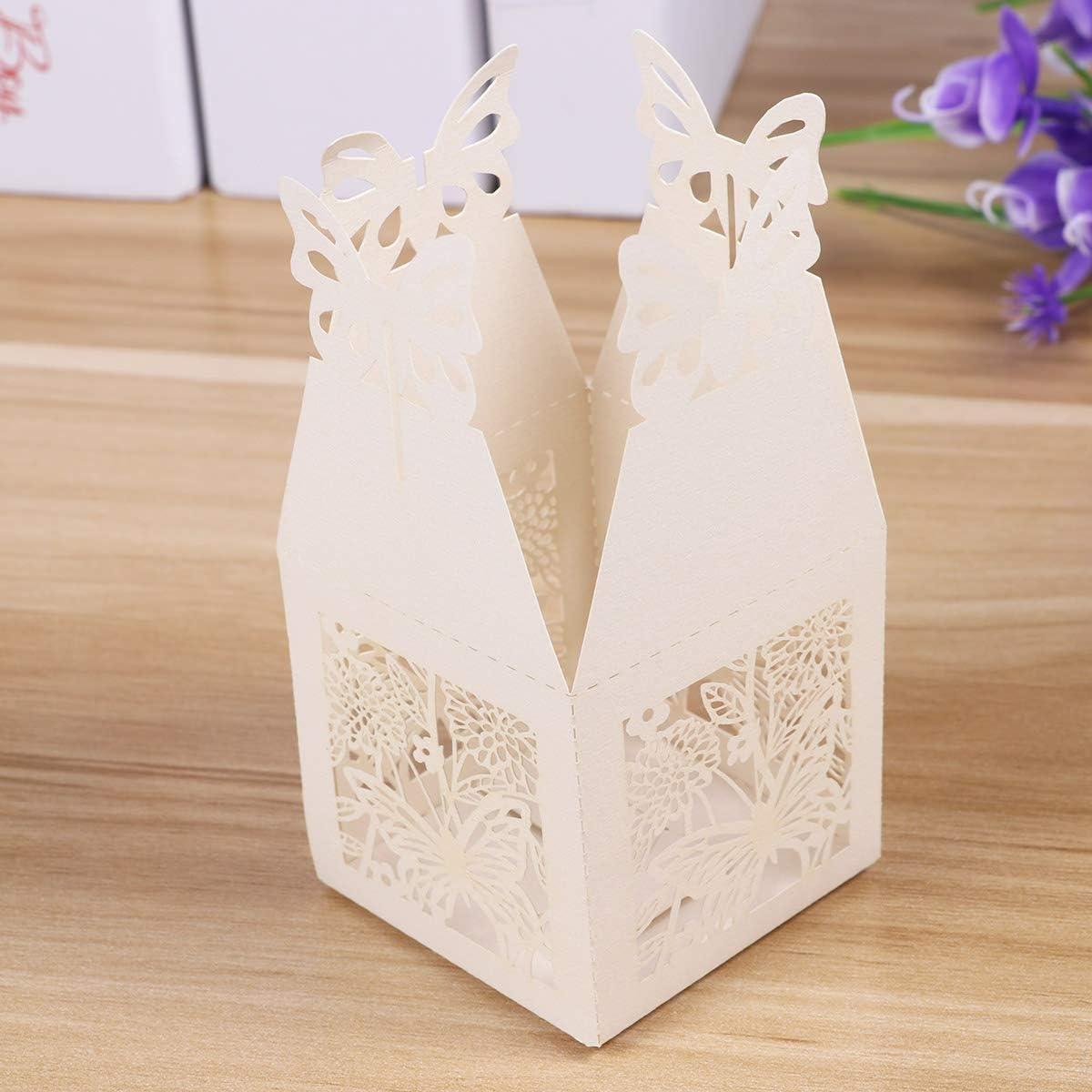 STOBOK Geschenkboxen Aush/öhlen Schmetterling Kraftpapier S/ü/ßigkeiten Box Schachtel DIY Hochzeit Baby Dusche Geburtstag Party 50 St/ück Beige