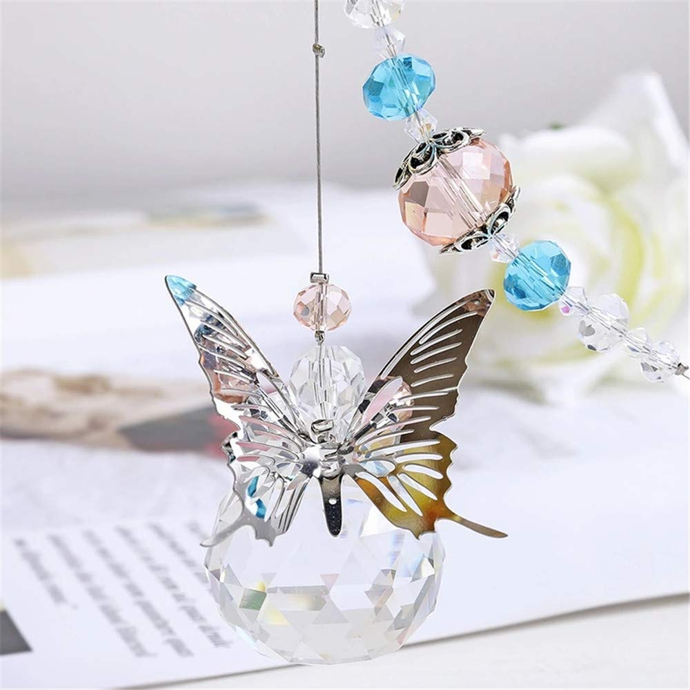 WEISIPU Crystals Ball Prisms Suncatcher - Hanging Ornament Crystals Butterfly Suncatcher with Clear Crystal Ball for Home, Office, Garden Decoration, Car Pendant, Birthday Present